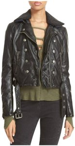 Free People Faux Shearling Zipper Sleeve Cuffs 8 Button Design Slant Zip Quilted Lining Motorcycle Jacket