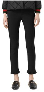 Gucci Ruffle Leggings Stretch Capri/Cropped Pants Black