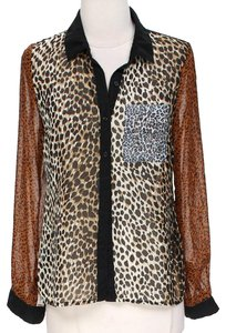 New Look Animal Print Colorblock Five Tones Sheer Detail Button Up Shirt Top multicolored brown and black