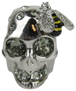 Alexander McQueen Aged Silver Skull Bee Cocktail Ring w/Crystals 15 230731 1190