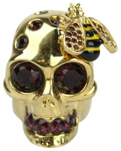 Alexander McQueen Aged Gold Skull Bee Cocktail Ring w/Crystals sz 15 230731 8890