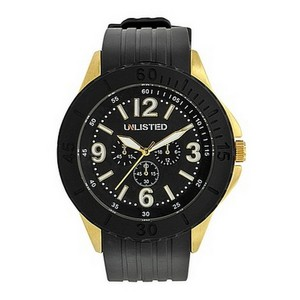 Unlisted by Kenneth Cole UL1193 Men's Black Rubber Band With Black Analog Dial Watch NWT