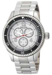 Nautica N17002G Men's Silver Steel Bracelet With White Analog Dial Watch NWT