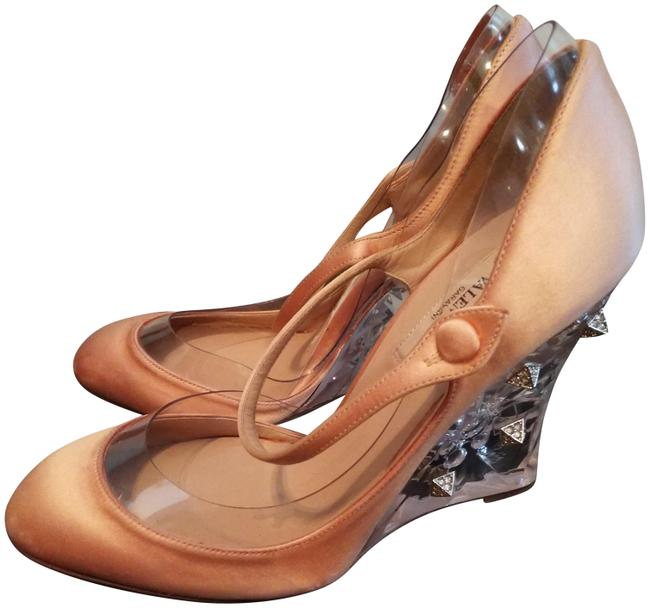 Item - Peach Clear Metallic Made In Italy Satin Studded Wedge Pumps Size EU 37 (Approx. US 7) Regular (M, B)