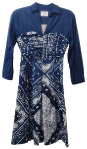 Holding Horses short dress Blue Cotton Sweetheart Fit & Flare Ruched A-line on Tradesy