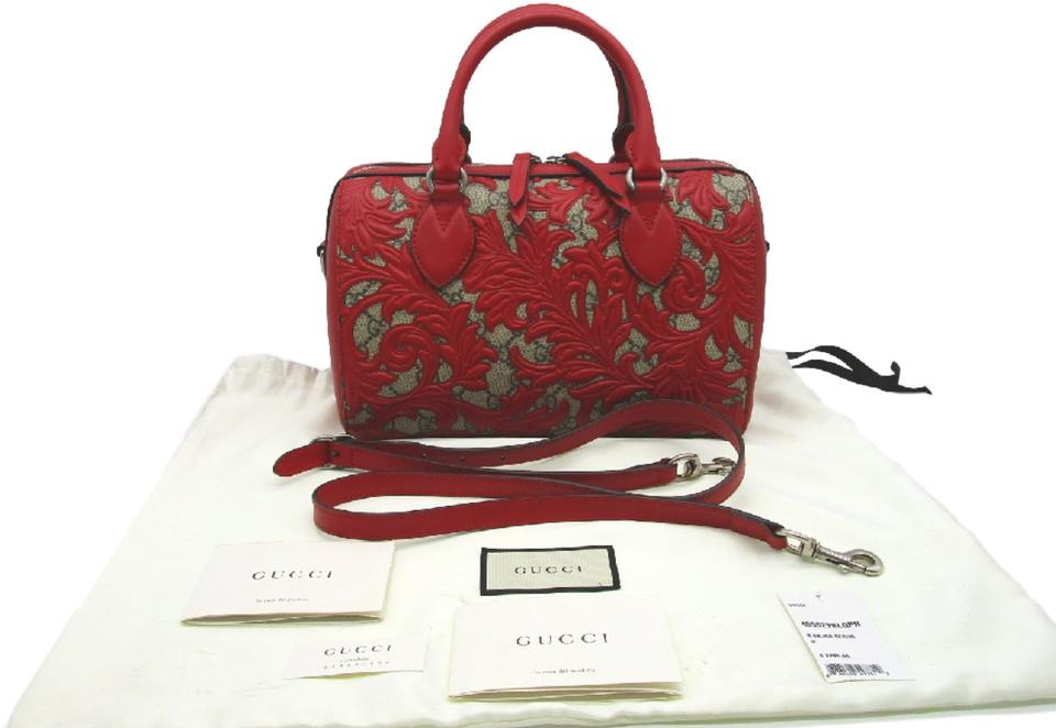 489367e24302 Gucci Small Top Handle Arabesque Gg Supreme Monogram Red Canvas ...