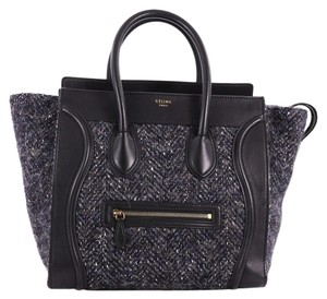 Celine Tweed Tote in Blue