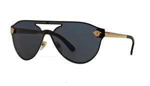 Versace Shield Style Gold Trim Sunglasses VE 2161 1002/87 FREE 3 DAY SHIPPING