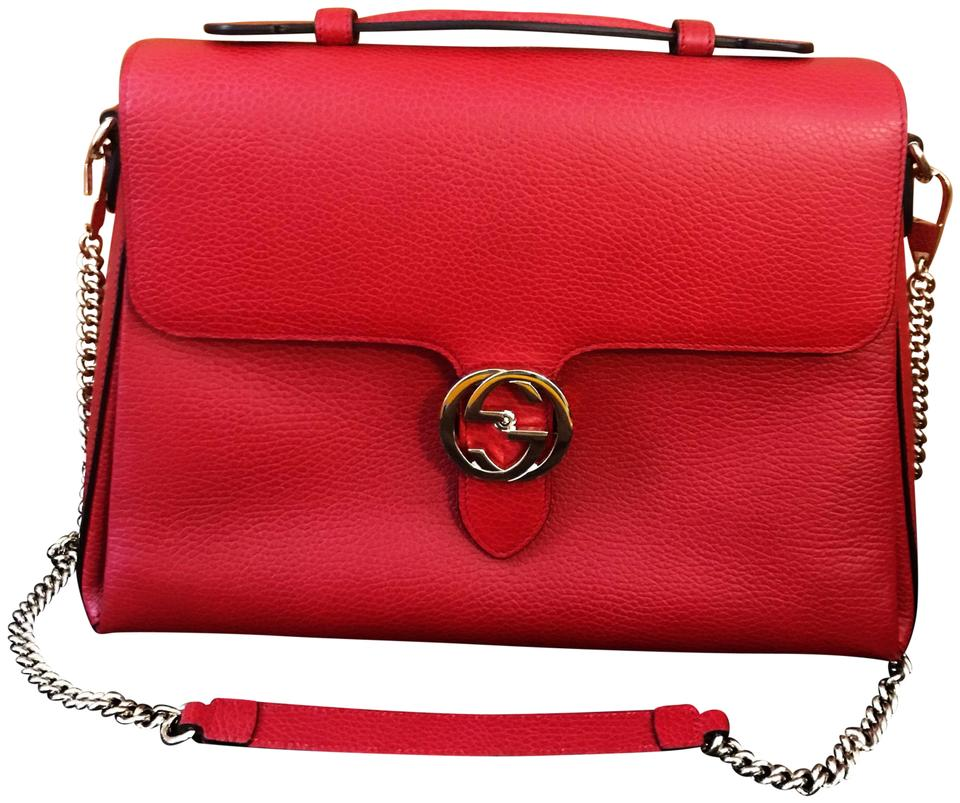 0d92084b22e8f9 Gucci Marmont New Medium Top Handle Gg Chain Red Calfskin Leather ...