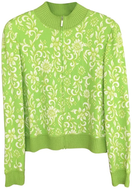 Item - Sprout Green/Cream Round Knit Jacket with Zipper Cardigan Size 12 (L)