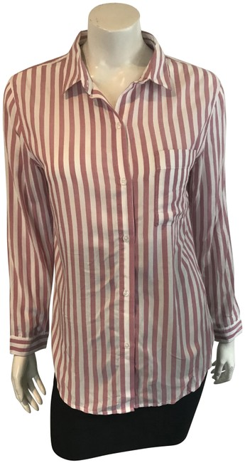 Item - Red/White 13818 & Stripe Shirt Small Button-down Top Size 4 (S)