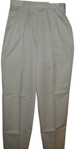 David Brooks Designer Retro Classic Preppy High Waist Straight Pants Ivory