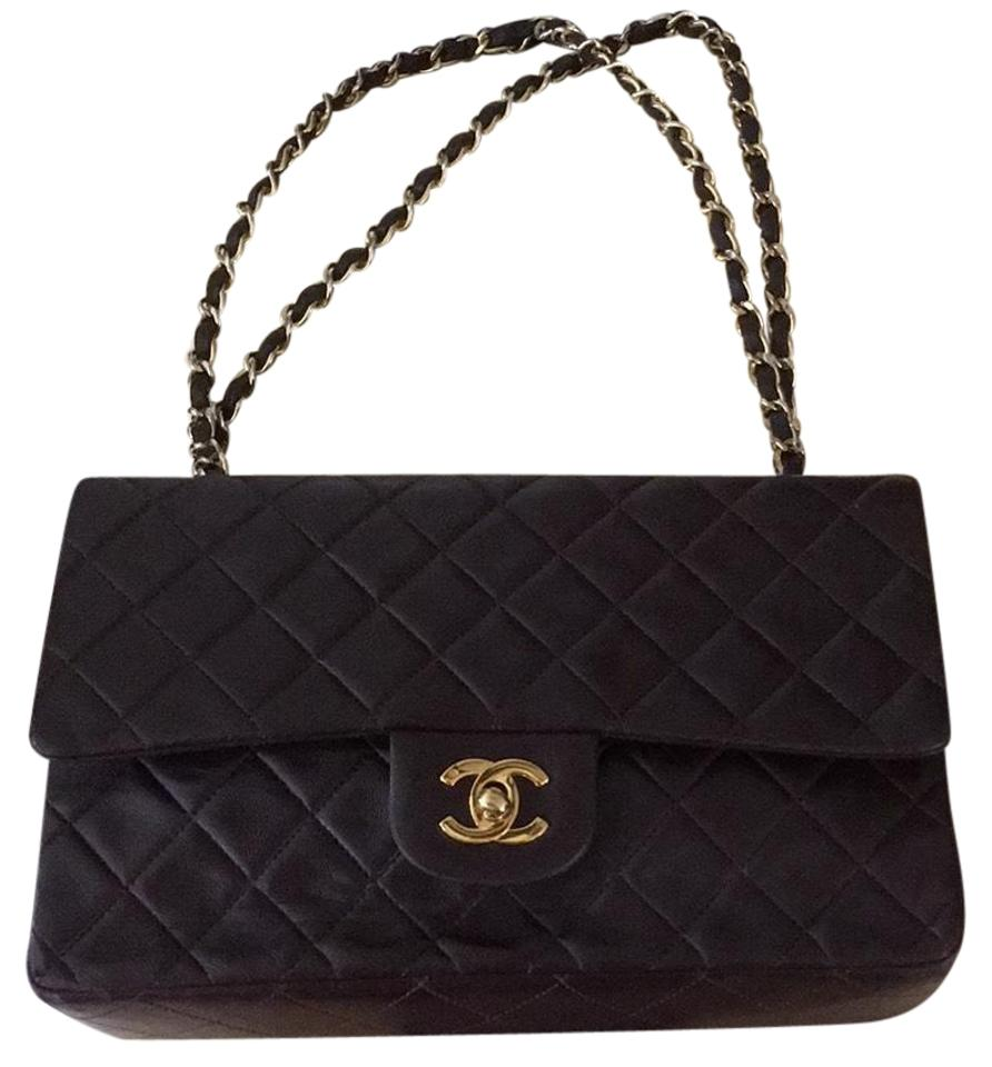 Chanel Classic Double Flap Quilted Dark Brown Lambskin Leather ... 8951e370d1