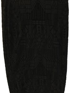 Sans Souci Pencil Bodycon Velvet Art Deco Skirt Black