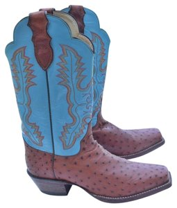 Justin Boots teal & tan Boots
