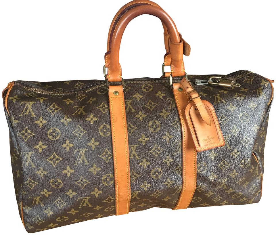 Louis Vuitton 45 Lv Keepall 45 Lock Lv Boston Keepall Brown Monogram Travel  Bag ... e2424f03c5493