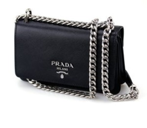Prada Saffiano Silver Hardware Cross Body Bag