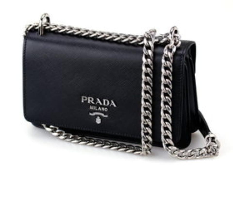 8e34bb58fe Prada Women s Saffiano Soft Calf 1bd144 Black Leather Cross Body Bag ...