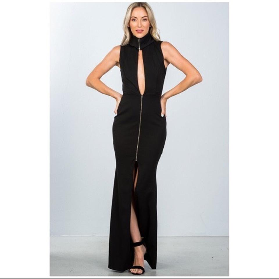 Black and Silver Snazzy Zipper Turtleneck Maxi Long Night Out Dress ...