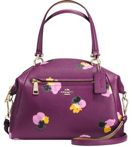 Coach Floral Print Crossbody Tote in Plum/Purple/Yellow/Brown/Gold/Black