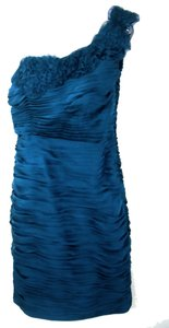 Adrianna Papell One-shoulder Ruched Rosettes Dress