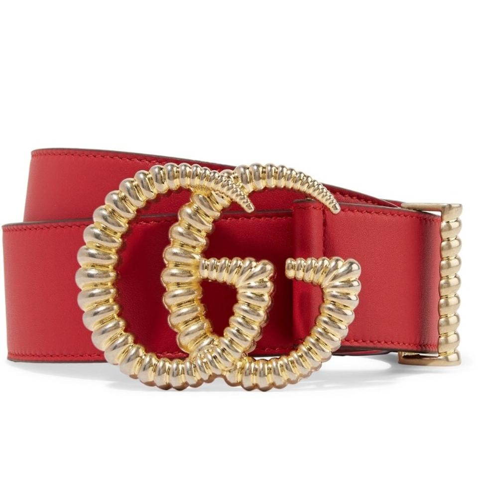 58b82c8f53d Gucci Red Gg Logo Leather Size 65 Belt - Tradesy