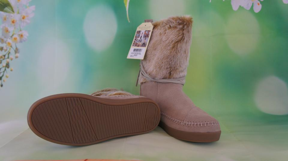 1c3b396d2c4 TOMS Tan Oxford Suede Faux Hair Nepal Boots Booties Size US 8.5 Regular (M