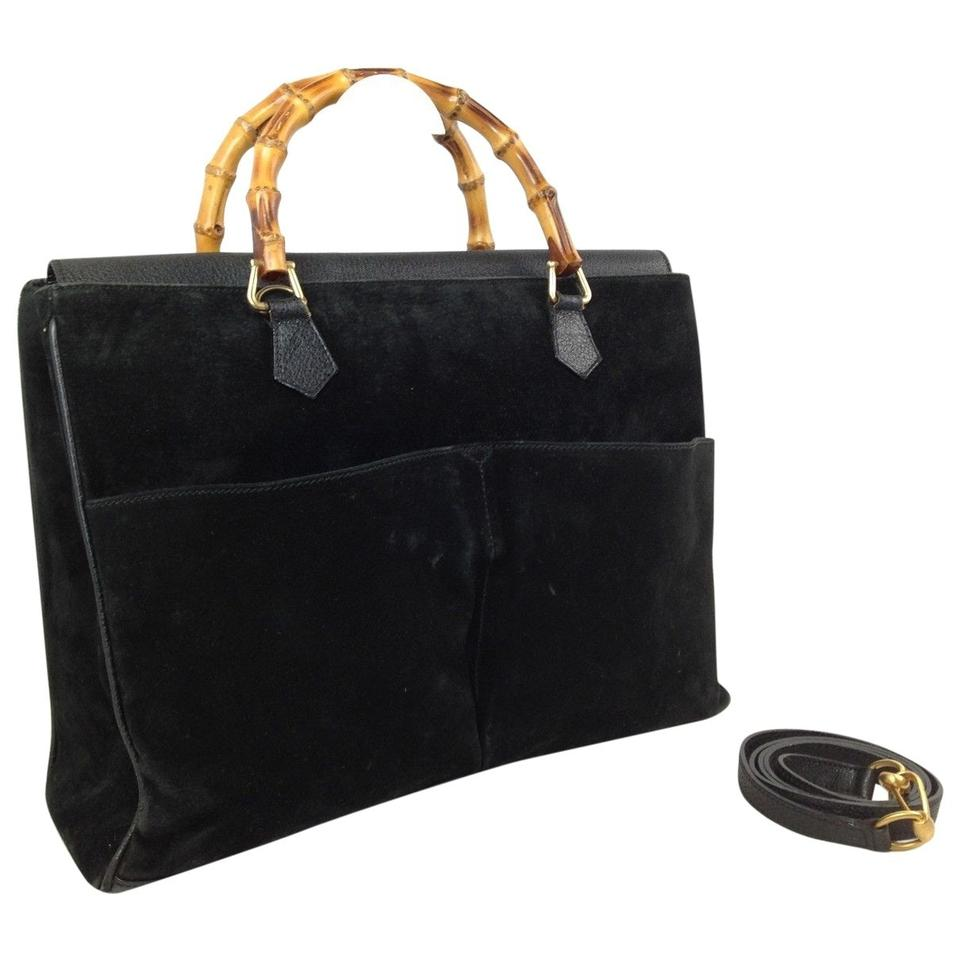 4a632f5418b9 Gucci [1st Dibs] Double Pocket Bamboo 2way Tote 868067 Black Suede Leather  Shoulder Bag