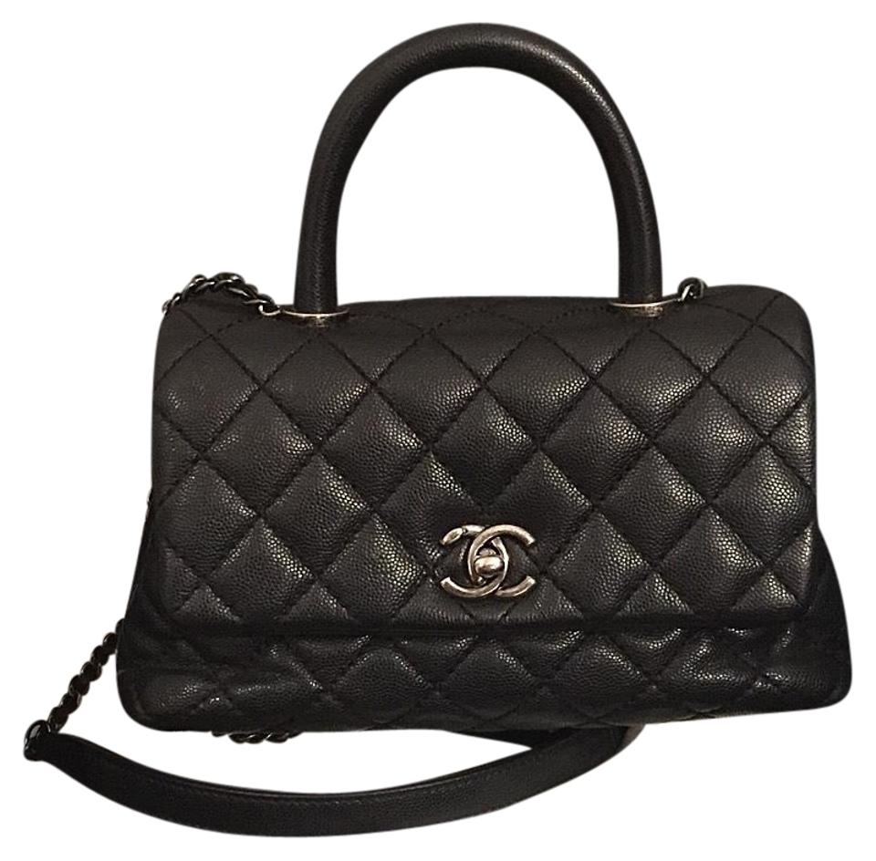 Chanel Classic Flap Coco Handle Small Leather Black Caviar Shoulder ... ff8df7b3bee7