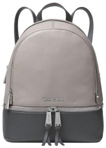 6f402dfd4db9d Michael Kors Rhea Medium Color-block Pebbled Pearl Grey Leather Backpack