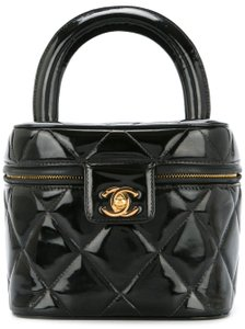 Chanel Vintage Patent Leather Vanity Case Quilted Satchel in Black