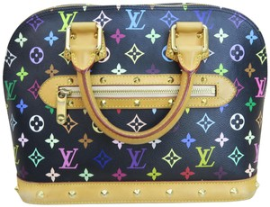 Louis Vuitton Lv Alma Canvas Multicolore Satchel in black