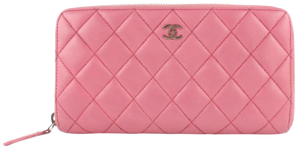 8b69e2186d90 Chanel L Quilted L-gusset Zip Around Wallet 5cz1002 Pink Leather Clutch