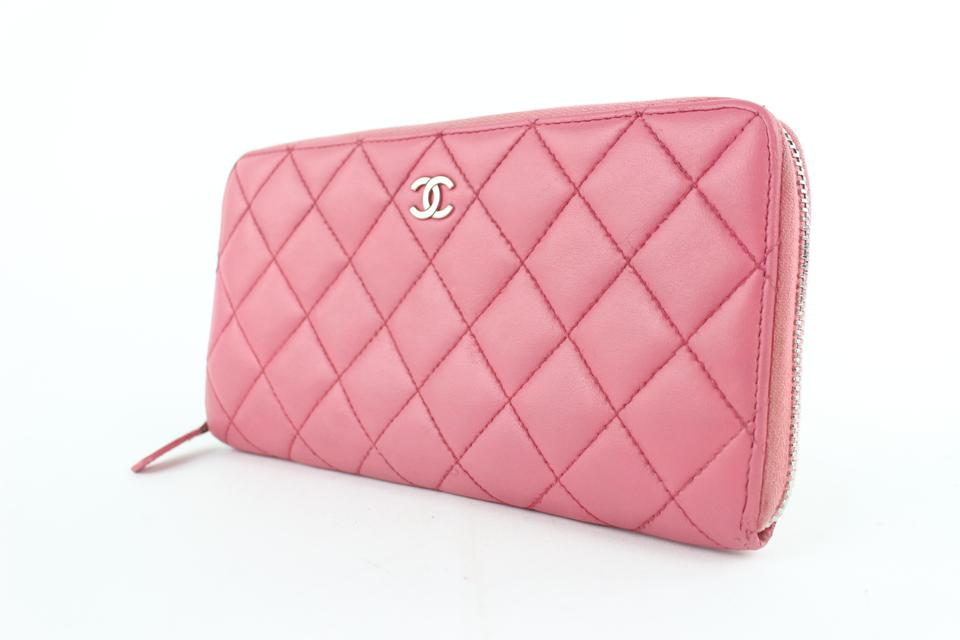 abe309931c4737 Chanel L Quilted L-gusset Zip Around Wallet 5cz1002 Pink Leather Clutch -  Tradesy