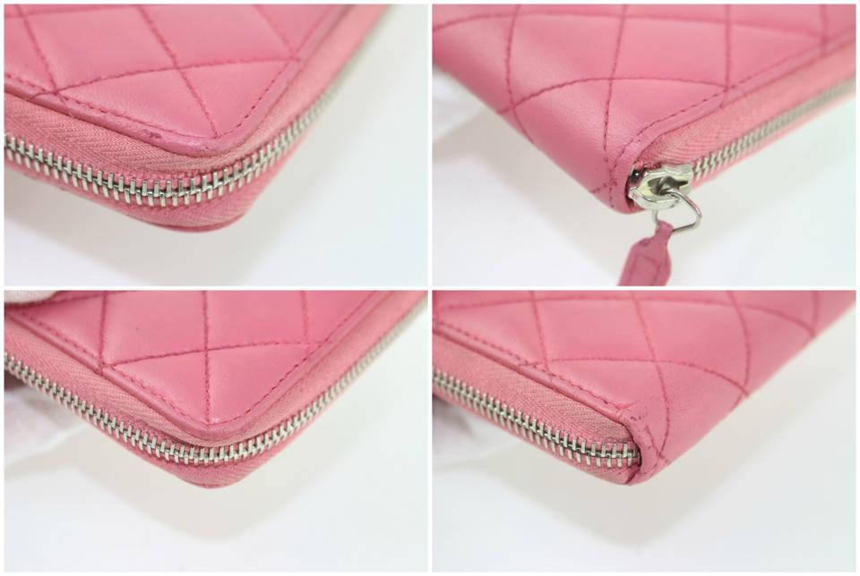 19a0050eacd2 Chanel L Quilted L-gusset Zip Around Wallet 5cz1002 Pink Leather Clutch -  Tradesy