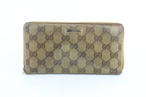 Gucci Zippy Zippered Zip-around Zippie Long Beige Clutch