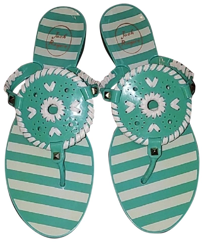 9ab8642d1f2b Jack Rogers Teal Georgica Striped Jelly Thong Sandals Size US 9 ...