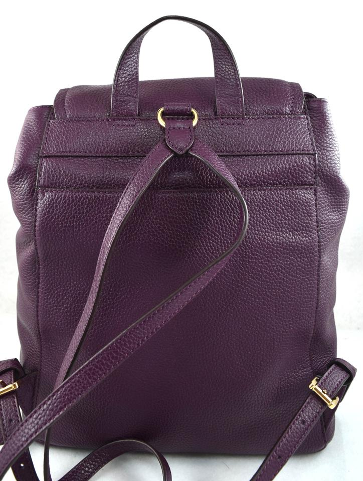 b8c0aabb7792 Michael Kors Rachel Flap Purple Damson Leather Backpack - Tradesy