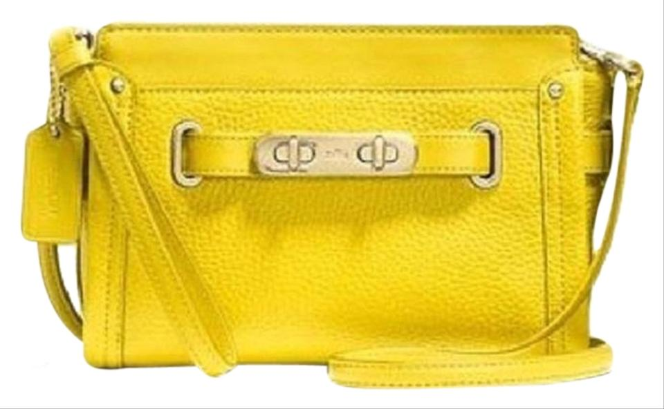 6b451265 Coach Swagger Wristlet In Pebble Yellow Leather Cross Body Bag 40% off  retail