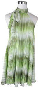 Lisa Nieves Pleated Casual Formal Satin Prom Top Green