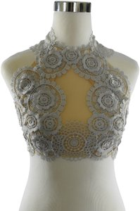 Lisa Nieves Crop Casual Lace Applique Prom Top gray