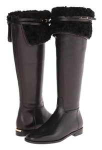 Burberry Over The Knee Shearling Winter Leather Black Boots