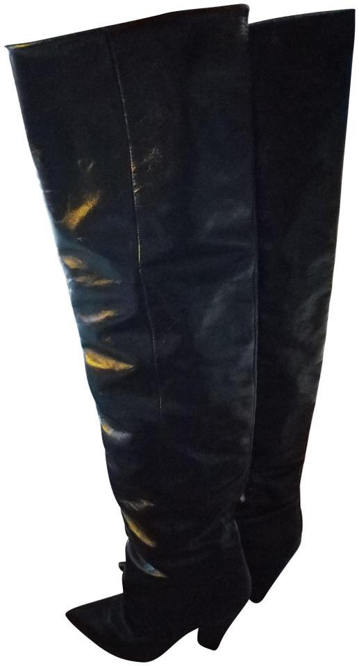 cfdbf7575b1 Saint Laurent Black Niki Over The Knee Boots Booties Size US 9 ...
