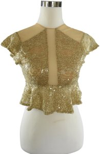 Lisa Nieves Sequin Prom Formal Stretchy Mesh Top gold