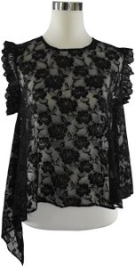 Lisa Nieves Lace Casual Sheer Stretchy Spring Top black