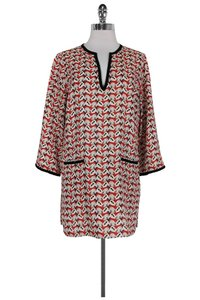 Tory Burch Red And White Floral Tunic