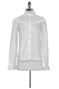 Reformation Button Up With Ruffle Detail Button Down Shirt White