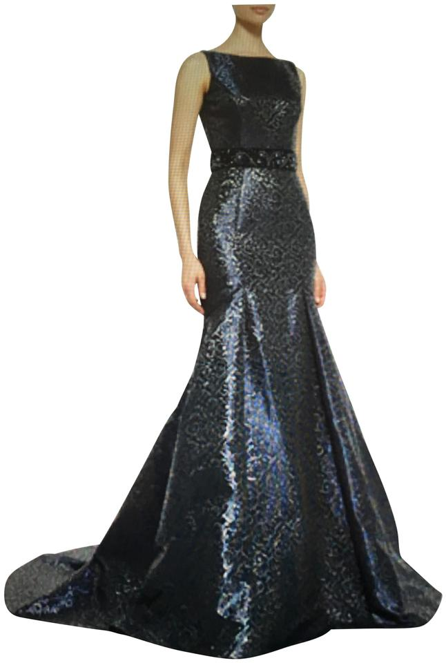 Theia Midnight Blue Sleeveless Beaded Waist Mermaid Gown Long Formal ...