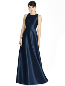 Alfred Sung Midnight Sateen Twill Style D746 Formal Bridesmaid/Mob Dress Size 12 (L)