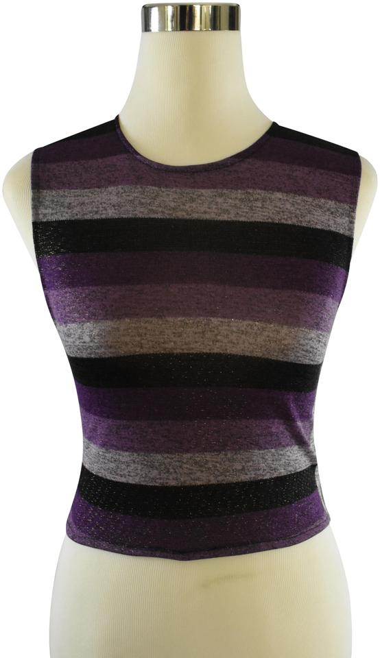 1a30ffc32e7d24 Lisa Nieves Casual Crop Stretchy Summer Striped Top purple black gray Image  0 ...